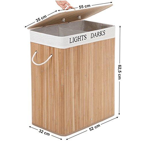 Songmics - Cesto para la colada con 2 compartimentos (100 L, bambú, plegable, con 3 asas) LCB64Y