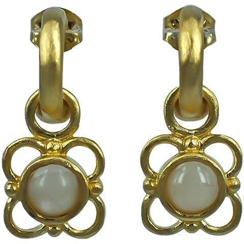 Orecchini in argento Chic-Net placcato orecchini di pietra blu di pizzo bianco 925 indiani Aztechi