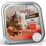 Miglior Gatto Set 32Mejor Gato Bandeja steriliz. Manzo Gr 100Comida para Gatos