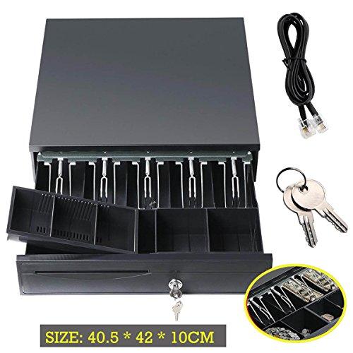 CASH DRAWER für POS Beleg Drucker oder Cash Register RJ11Schnittstelle 12V mit 2Schlüssel 5Rechnungen & 5Münzen abnehmbares Tablett hochwertigem Stahl, 2Jahre Garantie