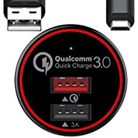 BC Master Quick Charge 3.0 - Cargador de coche para Samsung Galaxy S7 S6 Edge, Note 4 5, LG G3 G4, Huawei P9, Sony Xperia, HTC One Nexus iPad, etc