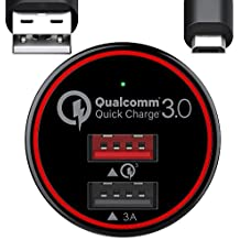 BC Master Quick Charge 3.0 - Cargador de coche para Samsung Galaxy S7 S6 Edge, Note 4 5, LG G3 G4, Huawei P9, Sony Xperia, HTC One Nexus iPad, etc