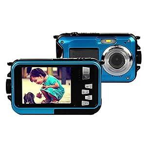 Chengstore 24MP Waterproof Digital Camera Dual Screen Video Camera with 2.7 inch LCD Display Up to 10 Feet Waterproof