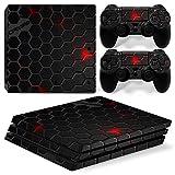 Morbuy PS4 Pro Skin Design Folie Aufkleber Sticker schützende Haut Schale für Sony Playstation 4 Pro Konsole und 2 Dualshock Controller (Black Comb)