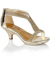 a03f6df2ef Tia Maria (14 Girls Mid Heel Diamante Wedding Sandals Shoes Size