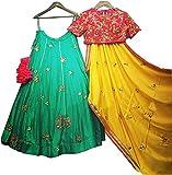 Drashti villa Woman's Embroidered Multi color Bangalore silk Lehenga Choli (Firoji-kal-choli_Free Size )