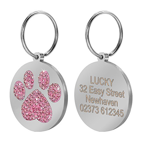 Glitzer Paw Pet ID-Tags Individuelle Gravur Namen Telefonnummer-Tag für Hunde & Katzen Pet Halsband Zubehör mit Gratis Geschenk S (Pet-id-tags Für Hunde)