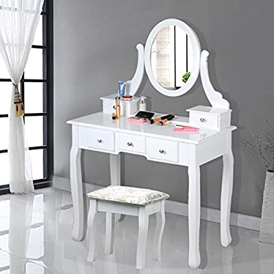 chinkyboo White Wooden Dressing Table with Oval Mirror and Stool Bedroom Shabby Chic 5 Drawers Makeup Desk Sets - cheap UK light shop.