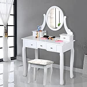 Chinkyboo White Wooden Dressing Table With Oval Mirror And Stool