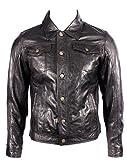Para hombre del camionero Denim Western Slim Fit Camisa de cuero Negro Jeans Chaqueta de motorista XS