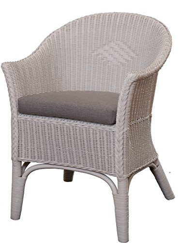 Rattan-Sessel Natur in der Farbe Weiss inkl. Polster Grau - Rattanstuhl Lounge