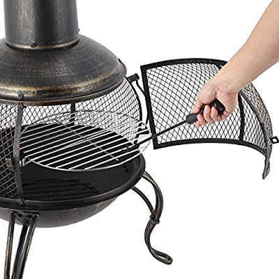 Mari Garden Ronda Bronze Steel Chiminea Included Chromed Bbq Grill Log Grate Poker All-in-one Chimney Patio Heater Rooftop Fire Pit Garden Incinerator Perfect For Backyard Gatherings by Mari Garden