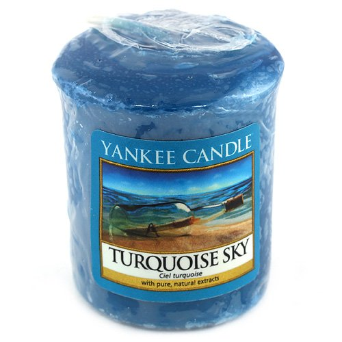 Yankee Candle Samplers Candele Votive Turquoise Sky, Cera, Blu, 4.5 x 4.5 x 5.3 cm