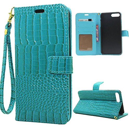 EKINHUI Case Cover Krokodil Pattern PU Ledertasche, Horizontale Flip Stand Folio Geldbörse Holster Case Cover mit Lanyard & Card Slots für iPhone 7 Plus ( Color : Green ) Green