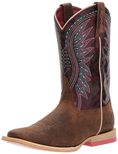 Ariat Kids' Vaquera Western Boot, Weathered Brown/Sunset Purple, 3 M US Little Kid