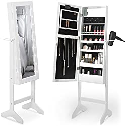 Beautify White Jewellery Cabinet with Mirror & LED Lights - Floor Standing Armoire Storage Organiser with Drawer and Shelves for Make Up, Jewellery, Nail Polish