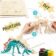 Robotime Dinosaurio de madera - 3D Puzzle Stegosaurus - Juguetes de pintura para niños 3,4, 5, 6 años