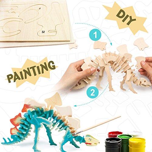 Robotime 3D Paint Your Own Wooden Jigsaw Puzzle (Stegosaurus)