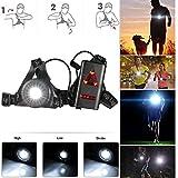 Rechargeable USB LED Eclairage de poitrine pour course, Lampe 3 modes 250 lm Étanche, Léger, Confortable et Idéal pour Jogging, Promenade, Camping, Course, Pêche, Escalade, Sports Extérieur