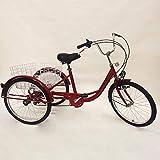 OUKANING 24 Zoll Dreirad für Erwachsene 6 Gänge Erwachsenendreirad Shopping mit Korb Licht (RED)