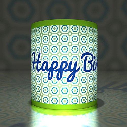 Kartenkaufrausch 5 Happy Birthday Transparentlichter| Teelichthalter| Kleine Transparentpapier Leuchten auf Retro Muster, grün