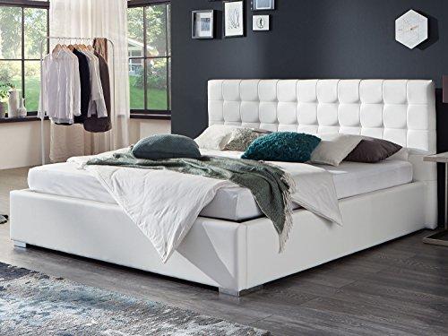 Bett mit Bettkasten Weiß Weiss Polsterbett Lattenrost Doppelbett Jimmy 140 160 180x200cm