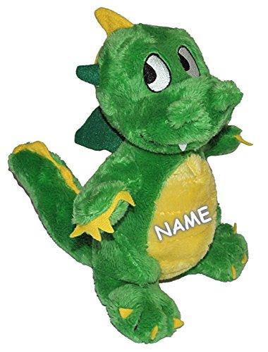 Unbekannt Plüschtier grüner Drache 24 cm - inkl. Name - superweich - Stofftier Drachen Kuscheltier groß Knuddeltier süßer Plüschdrache