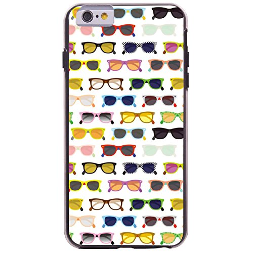 iPhone 6 6S Fall, Hülle, Case True Color® Colorful Hipster Sonnenbrille Slim Hybrid Hard Back + weich TPU Bumper Schutz Langlebig [True Schützen Serie] + kostenlosem Stylus und Displayschutzfolie schwarz
