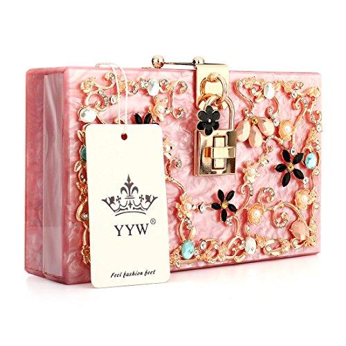YYW Evening Bag, Poschette giorno donna Hot Pink