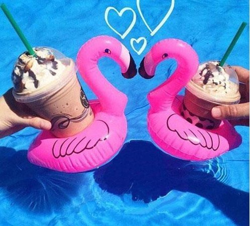 a-goo Mini Pink Flamingo Floating aufblasbarer Getränkehalter Whirlpool Pool Bad holiday-pack von 4