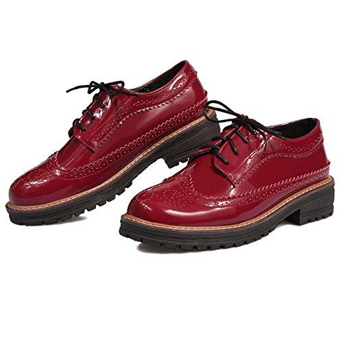 Zanpa Donna Classico Pumps Oxford Scuola Scarpe Rosso