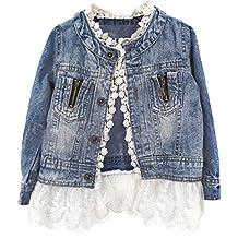 ESHOO Niñas Kids Denim Jean chaqueta de abrigo Outwear Tops Encaje inferior vaquero ropa 2–7años
