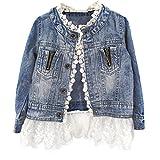 ESHOO Mädchen Kinder Denim Jean Mantel Jacke Outwear Tops Lace Bottom Cowboy Kleidung 2-7 Jahre (3-4 Jahre, Cowboy)