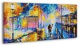 YS-Art Cuadro acrílico Tarde romántica| Pintado a Mano | 130x70 cm | Arte Moderno |...