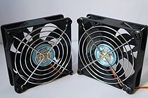( 2-PACK) long life with Grill Dual Ball Bearing fan Cooling fan for pc, Computer Cases, CPU Coolers, and Radiators,TV-BOX (3pin 12V, 92mm(9225))