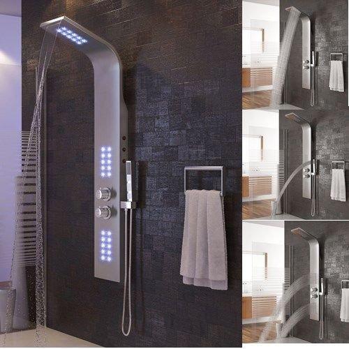 Duschpaneel LED,Duschsystem Duscharmaturen mit Thermostat,Edelstahl Duschsäule Regendusche