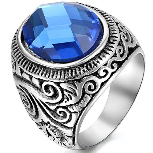 JewelryWe Schmuck Herren-Ring, Klassiker Retro Charm Schnitzerei, Edelstahl Glas, Blau Silber - Größe 67
