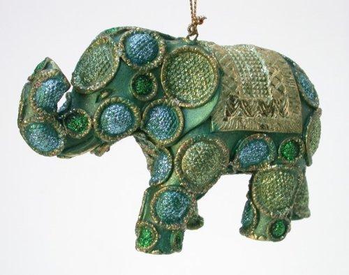 Zauberhafter Elefant Hänger, grün/gold, Verzierungen, 12x8 cm