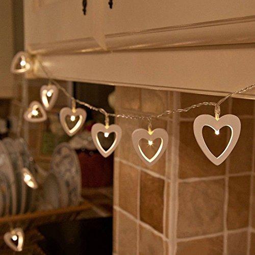 Hangqi - 20 romantiche luci a batteria in legno a forma di cuore dotate di led, come decorazione nuziale o natalizia, colore luce: bianco caldo