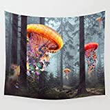 gthytjhv arazzi ElectricJellyfish Worlds in a Forest Wall Tapestry Hanging Tapestries Wall Art for Living Room Bedroom Dorm Decor