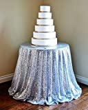 72''Inch Round SILVER SEQUIN TABLECLOTH,...