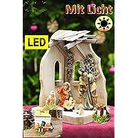 Presepe con illuminazione luce (Trasformatore, Lanterna, LED falò, Set di collegamento), 14pezzi, completo con personaggi presepe (6pezzi statuine pregiate), greppia