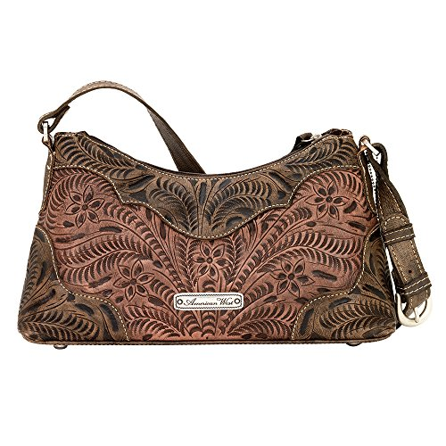 American West - Borse a spalla donna Marrone (Antique Brown/ Distressed Charcoal Brown/ Sky Blue)