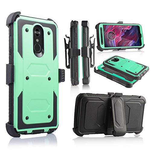 Schutzhülle für LG Stylo 4, Stylus 4, LG Q Stylo 4 (Q710) 2018 (Metro PCS, T-Mobile, Cricket etc.), mit Gürtelclip und integriertem Displayschutz, mintgrün Silicon Case Screen Guard