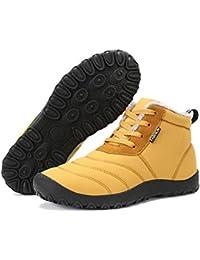 Hombres Mujeres Botas de nieve Botines con cordones de piel Invierno Impermeable antideslizantes Zapatos de nieve cálidos para al aire libre