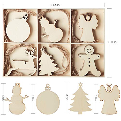 N&T NIETING 30pcs Wooden Christmas Ornaments, Unfinished Wooden Cutouts Embellishments Hanging Ornament-Angel, Deer, Ball, Doll, Snowman, Tree for Christmas Decorations, Tree Decor, Kids Crafts DIY