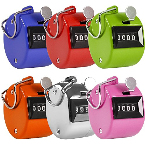 Contador Manual de 4 Digitos, AFUNTA 6 Colores Mecánico Clicker de la Palma Contador -Colores variados Handheld Tally Counter, ideal para Contar/ Golf / Eventos / Deporte / Entrenador / Escuela