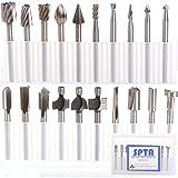 SPTA 10tlg HSS-Fräser Stich-Spitzen & 10tlg HSS Fräser-Set Fur Proxxon Dremel Kabelgebundenes Multifunktionswerkzeug Schleifen, Schleifen, Polieren--3mm Schaft