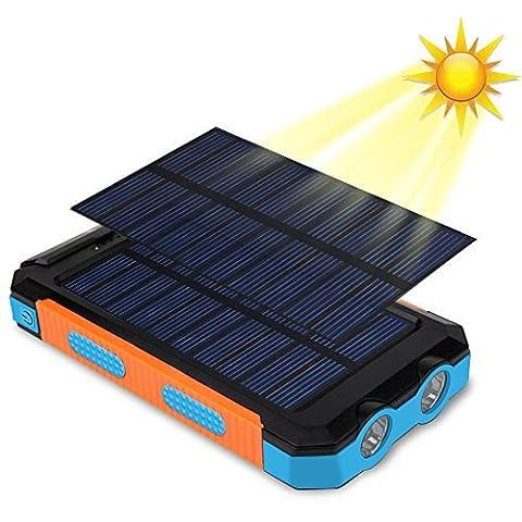 Imperméable Chargeur solaire 10000mAh, Iyowin Double USB Mobile Power Bank solaire Imperméable Batterie Externe avec LED lampe et Boussole pour Voyage Extérieure/Smartphone (Bleu-Orange)