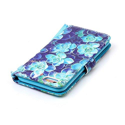 """Cuir Portefeuille Coque pour Apple iphone 6 Plus 6S Plus 5.5"""" Rose, Élégant iPhone 6S Plus étui Rabat Style, iPhone 6 Plus Case, Joli Image Peinture Arbre coloré Bleu-2"""